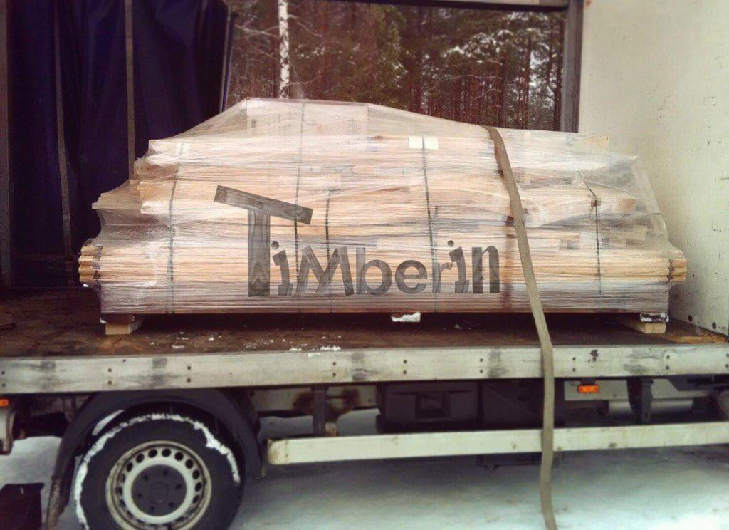 Sauna Barrel Non Assemble Dans Un Camion