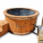 Bain nordique jacuzzi avec chauffage bois extérieur