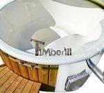 bain nordique en fibre de verre modèle de bien-être royal avec poêle intégrée