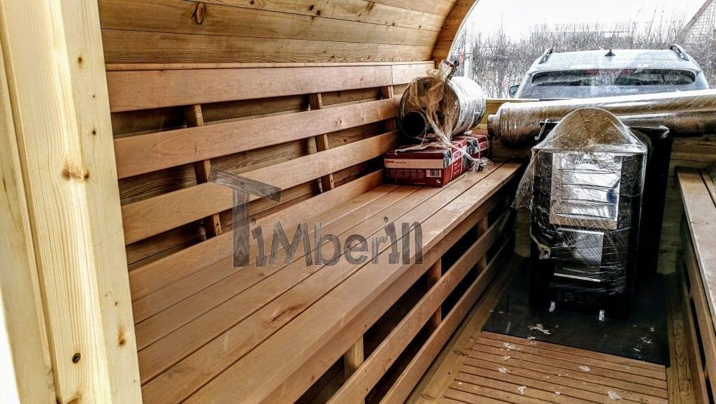 Sauna exterieur avec remorque vestiaire et poele a bois for Sauna exterieur avec poele a bois