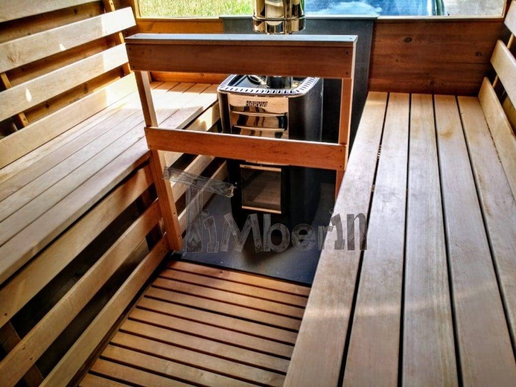 sauna ext rieur avec remorque vestiaire et po le bois harvia. Black Bedroom Furniture Sets. Home Design Ideas