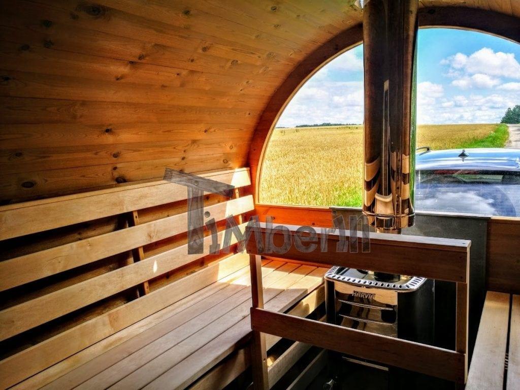sauna ext 233 rieur avec remorque vestiaire et po 234 le 224 bois harvia
