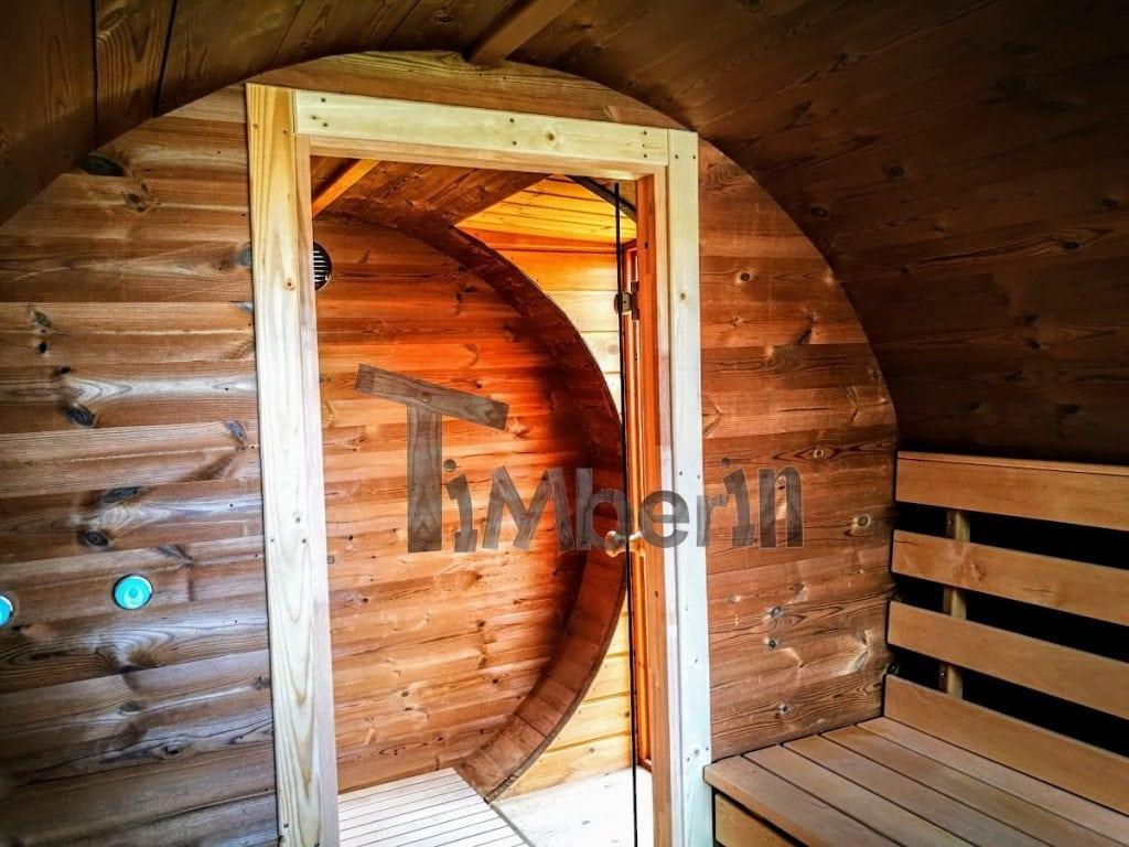sauna ext rieur avec remorque vestiaire et po le bois. Black Bedroom Furniture Sets. Home Design Ideas