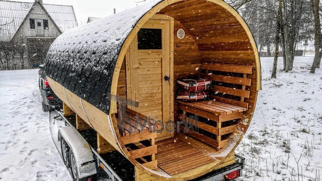 Sauna ext rieur avec remorque vestiaire et po le bois for Sauna exterieur poele bois