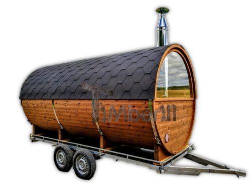 Sauna Extrieur Avec Remorque Vestiaire Et Pole  Bois Harvia