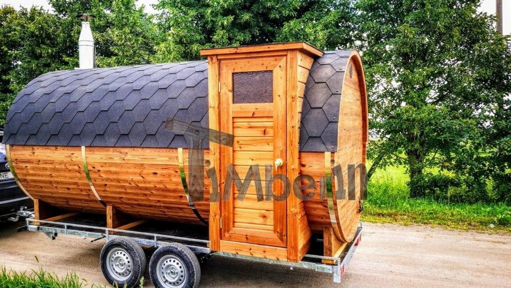 Sauna ext rieur avec remorque vestiaire et po le bois for Sauna exterieur avec poele a bois