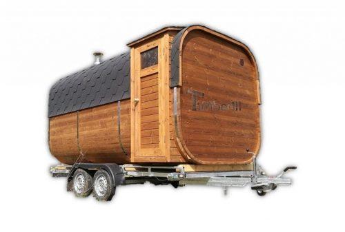 Sauna extérieur rectangulaire sur une remorque