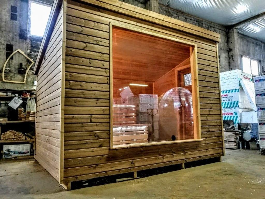 moderne sauna d 39 ext rieur. Black Bedroom Furniture Sets. Home Design Ideas