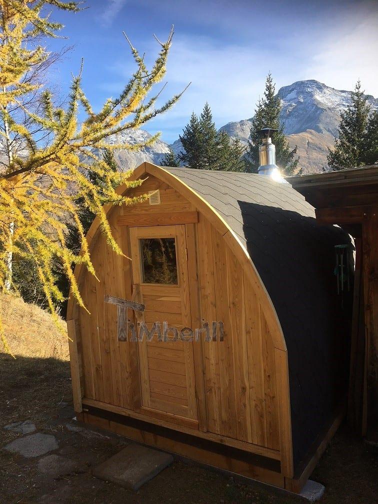 Jardin extérieur sauna en bois Igloo design Patrick France 1