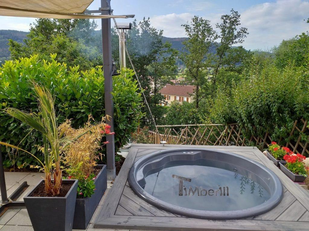 Bain norvegien en fibre de verre avec bancs coniques Modèle Terrasse Thomas SAINT AMÉ France 3