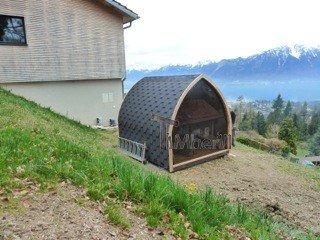 Jardin extérieur sauna en bois Igloo design Catherine Blonay Suisse 1