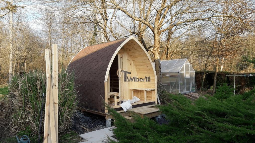 Jardin extérieur sauna en bois Igloo design Jean Louis LOURQUEN France