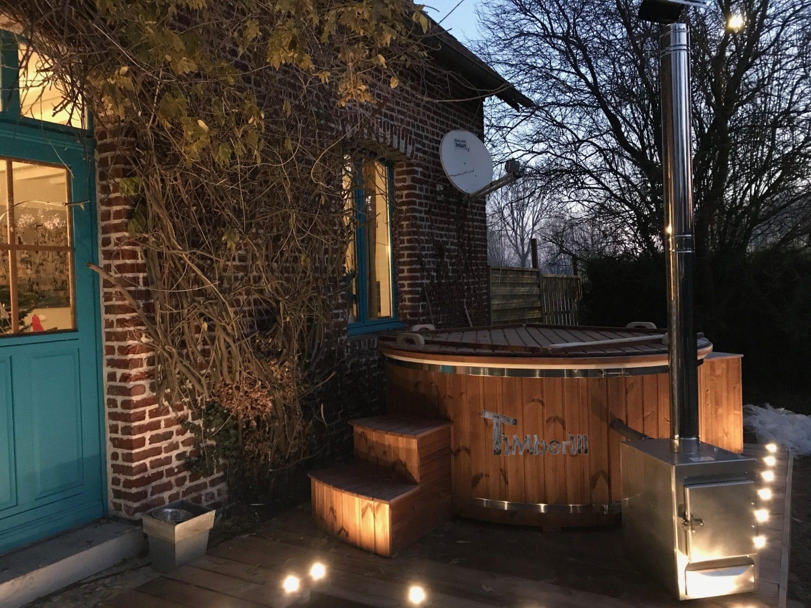 Spa jacuzzi avec poêle extérieur en fibre de verre Alexander BOIRY BECQUERELLE France
