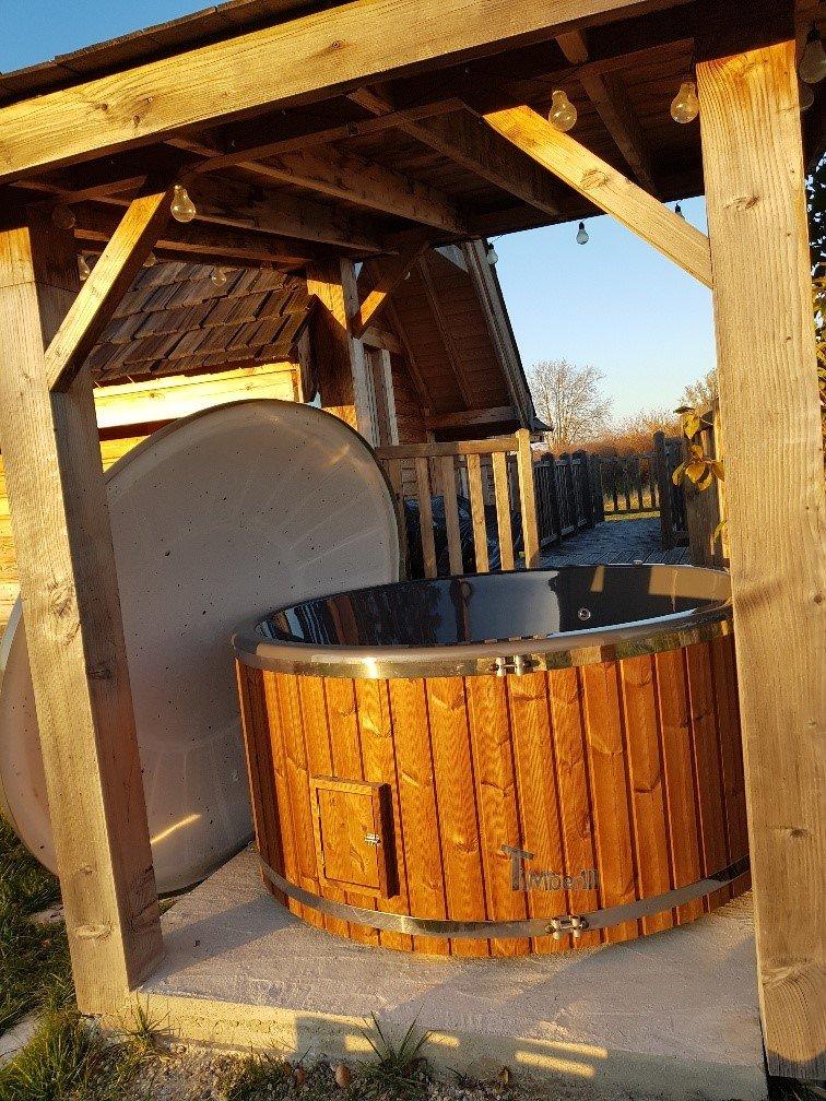 Bain nordique jacuzzi avec poele exterieur bois gaz diesel Elodie Berson France 1